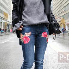 กางเกงยีนส์ ประดับดอกไม้แบบผ้าสวยๆ