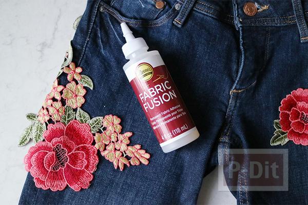 รูป 2 กางเกงยีนส์ ประดับดอกไม้แบบผ้าสวยๆ