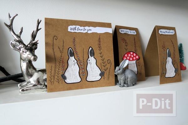 ไอเดียทำการ์ดคริสต์มาส ต้นเห็ดกับกระต่ายน้อยน่ารักๆ