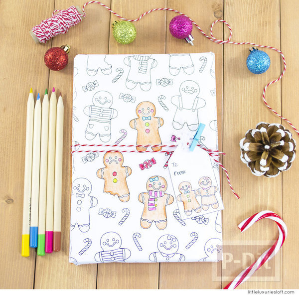 กระดาษห่อของขวัญ พร้อมการ์ด ลาย Gingerbread
