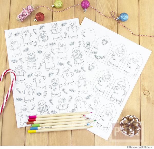 รูป 2 กระดาษห่อของขวัญ พร้อมการ์ด ลาย Gingerbread