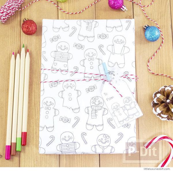 รูป 3 กระดาษห่อของขวัญ พร้อมการ์ด ลาย Gingerbread