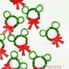 มิกกี้เมาส์ ทำจากลวดกำมะหยี่ ประดับต้นคริสต์มาส