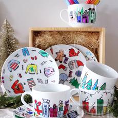 ของขวัญวันคริสต์มาส ปีใหม่ แก้วน้ำชา กาแฟ วาดรูปสีสวย