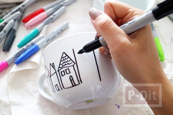 รูป 2 ของขวัญวันคริสต์มาส ปีใหม่ แก้วน้ำชา กาแฟ วาดรูปสีสวย