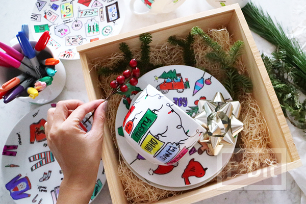 รูป 4 ของขวัญวันคริสต์มาส ปีใหม่ แก้วน้ำชา กาแฟ วาดรูปสีสวย
