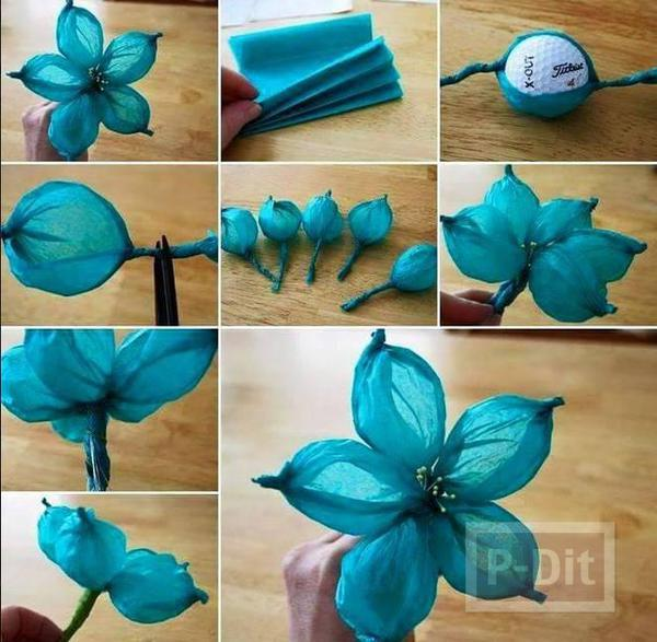 สอนทำดอกไม้สวยๆ จากกระดาษย่น สีสดใส