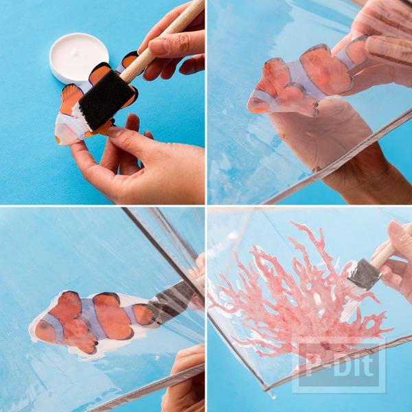 รูป 4 ร่มสีใส ตกแต่ง ติดปลากระดาษ