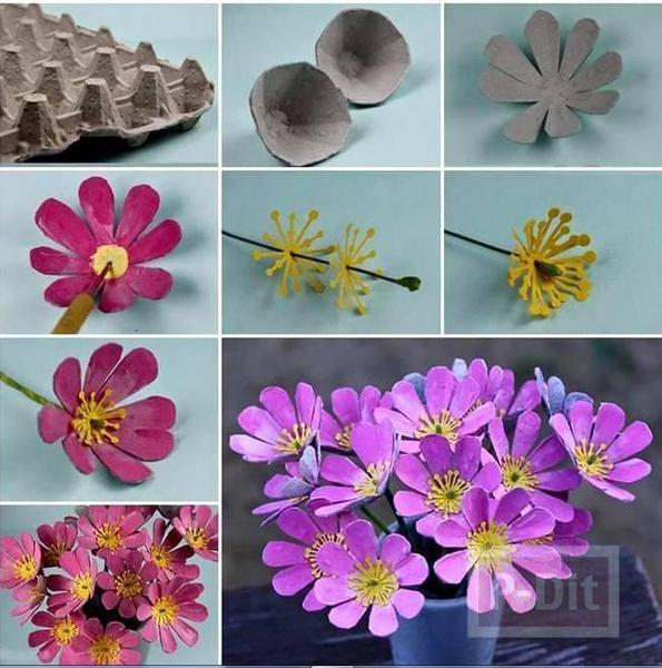 ดอกไม้สวยๆ ทำจากรังไข่ แบบกระดาษ