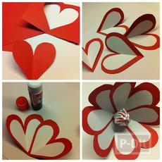 ดอกไม้ ทำจากกระดาษรูปหัวใจ เกสรช็อคโกแลต
