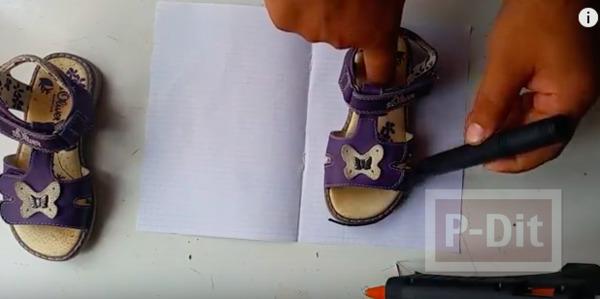รูป 2 ทำรองเท้าเด็ก จากกาวยิง (กาวร้อน)