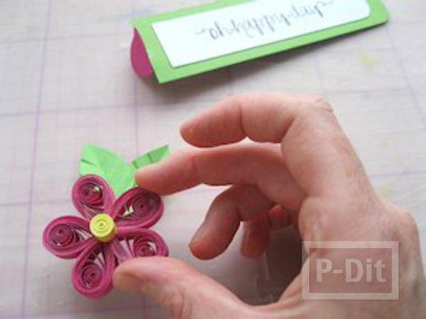 รูป 4 ที่คั่นหนังสือ ลายดอกไม้กระดาษ ม้วนเป็นกลีบสีสด