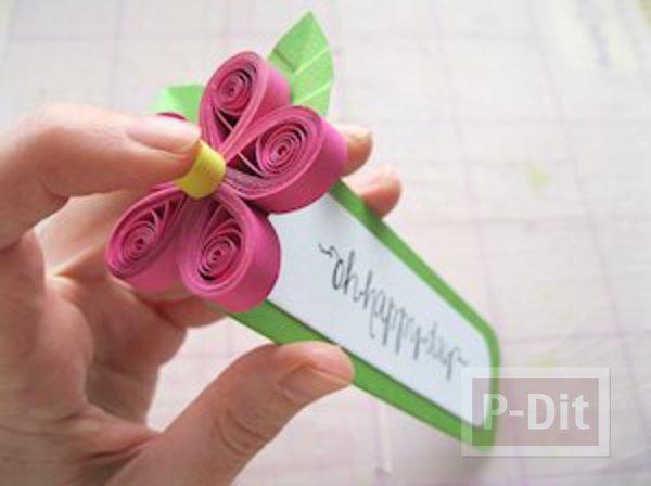 รูป 5 ที่คั่นหนังสือ ลายดอกไม้กระดาษ ม้วนเป็นกลีบสีสด
