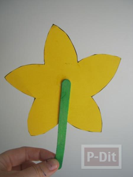 รูป 3 ดอกไม้กระดาษ สีเหลืองสดใส เกสรถ้วยคัพเค้ก