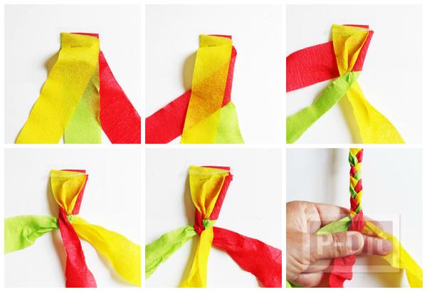 รูป 5 กำไลข้อมือ ทำจากกระดาษย่น ถักเปีย