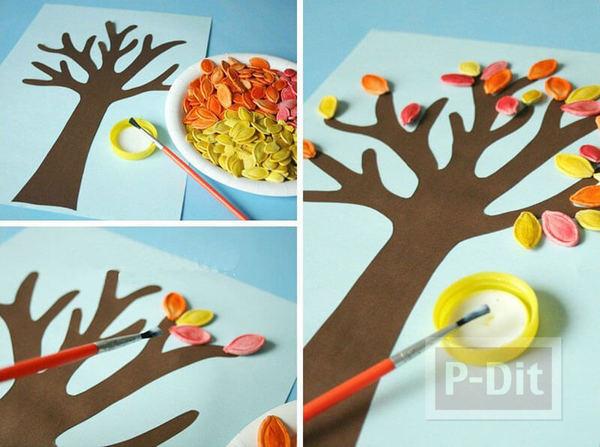 รูป 2 การ์ดต้นไม้กระดาษ ประดับเมล็ดทาสีสวย