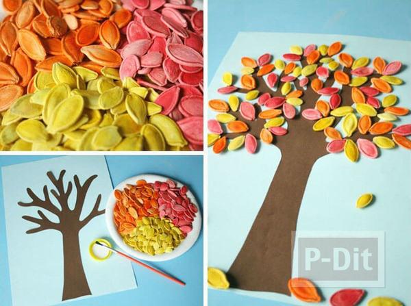 รูป 3 การ์ดต้นไม้กระดาษ ประดับเมล็ดทาสีสวย