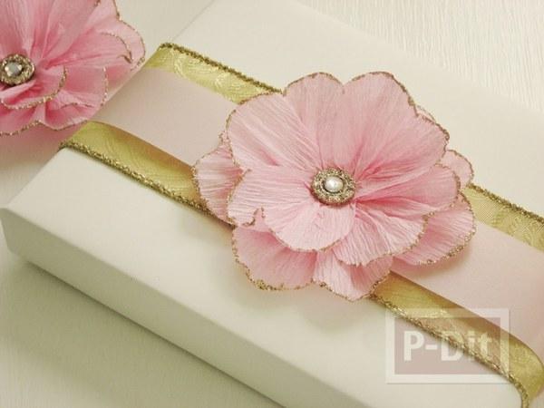 รูป 1 สอนทำดอกไม้ กระดาษย่น ประดับกล่องของขวัญ