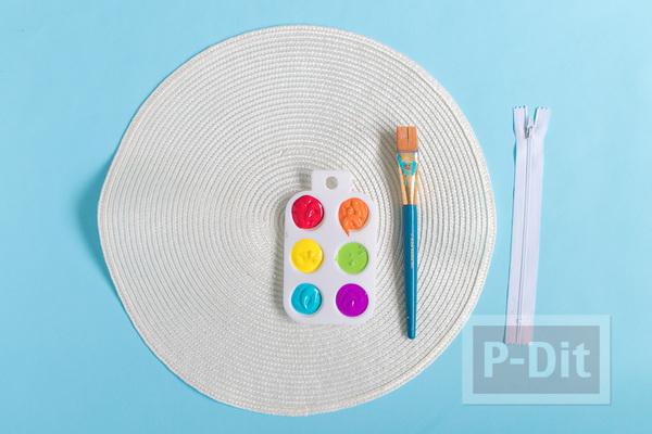 รูป 2 ทำกระเป๋าใส่ของ จากจานรองแก้ว แบบวงกลม