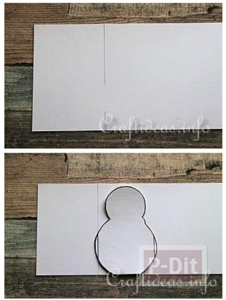 รูป 4 Snow man กระดาษ ประดับเทศกาลคริสต์มาส