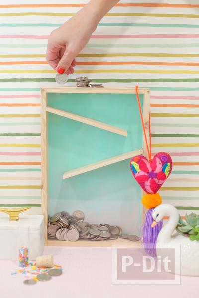 กระปุกออมสิน ทำจากกล่องไม้ กระจกใส