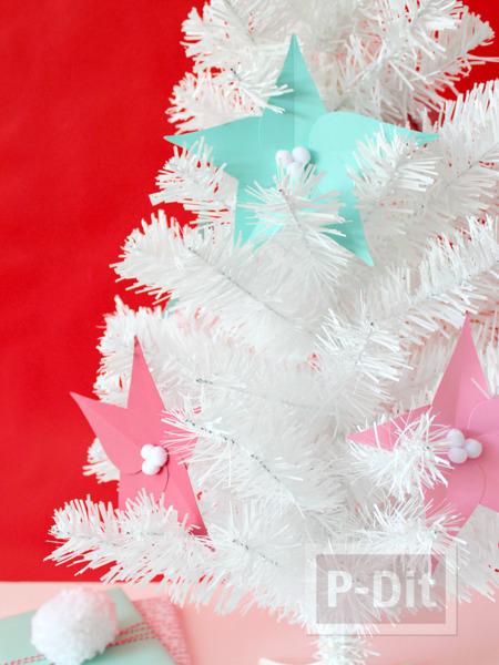 ดอกไม้กระดาษ ประดับต้นคริสต์มาส ทำเองแบบง่ายๆ