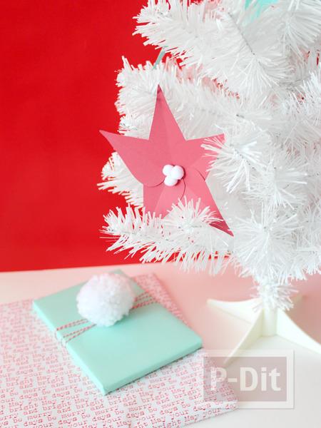 รูป 3 ดอกไม้กระดาษ ประดับต้นคริสต์มาส ทำเองแบบง่ายๆ