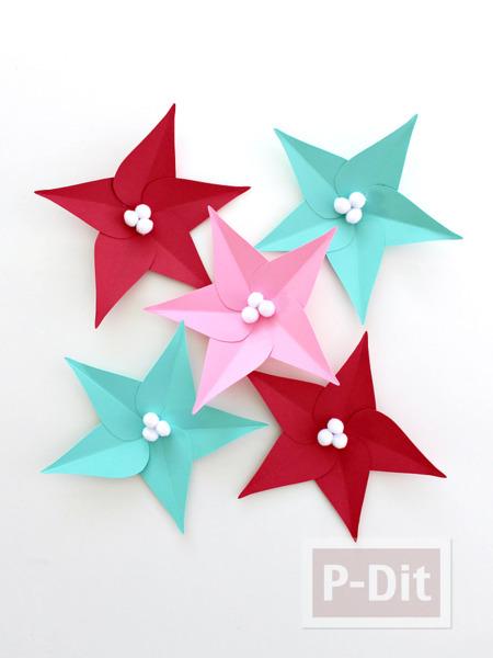รูป 4 ดอกไม้กระดาษ ประดับต้นคริสต์มาส ทำเองแบบง่ายๆ