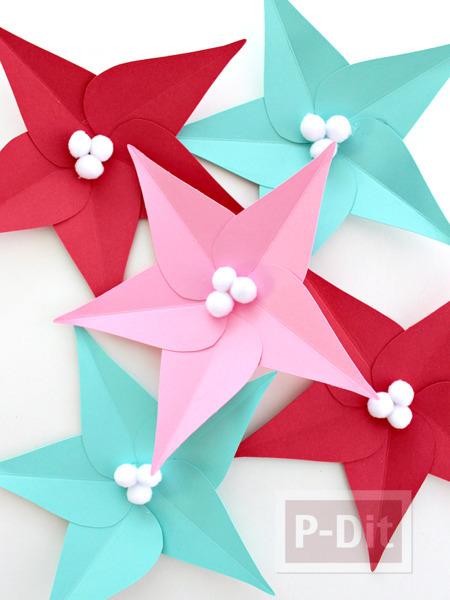 รูป 5 ดอกไม้กระดาษ ประดับต้นคริสต์มาส ทำเองแบบง่ายๆ