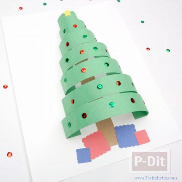สอนทำการ์ด ต้นคริสต์มาสประดับกากเพชร
