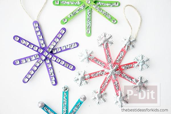 สอนทำ Snowflake จากไม้ไอติม ประดับต้นคริสต์มาส