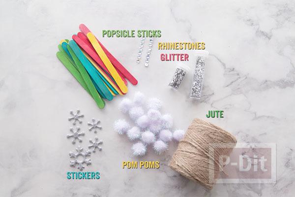 รูป 2 สอนทำ Snowflake จากไม้ไอติม ประดับต้นคริสต์มาส