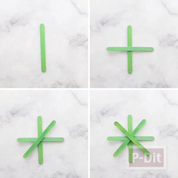 รูป 3 สอนทำ Snowflake จากไม้ไอติม ประดับต้นคริสต์มาส