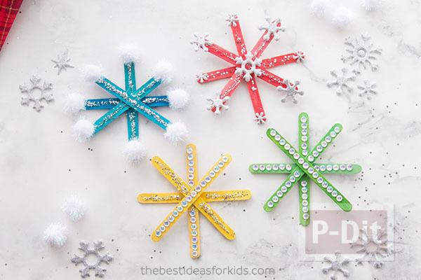 รูป 5 สอนทำ Snowflake จากไม้ไอติม ประดับต้นคริสต์มาส