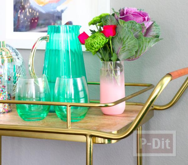 รูป 4 แจกันแก้ว พ่นสีสวย ประดับบ้าน