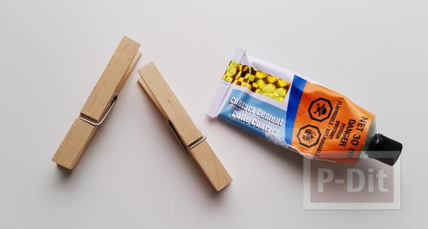 รูป 2 สอนทำที่เก็บสายหูฟัง จากไม้หนีบผ้าแบบไม้