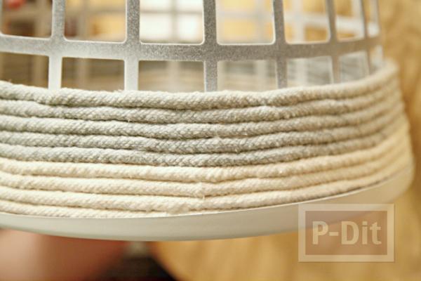 รูป 7 ไอเดียตกแต่งตะกร้าผ้าพลาสติก เป็นตะกร้าเชือกสวยๆ