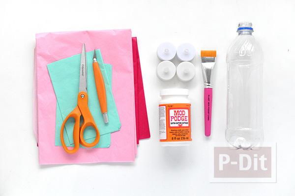 รูป 2 ไอเดียทำที่หุ้มเทียน จากแผ่นพลาสติกสีสวย ประดับลาย