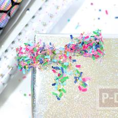 โบว์ประดับกล่องของขวัญ ทำลวดลายเศษกระดาษสีสด