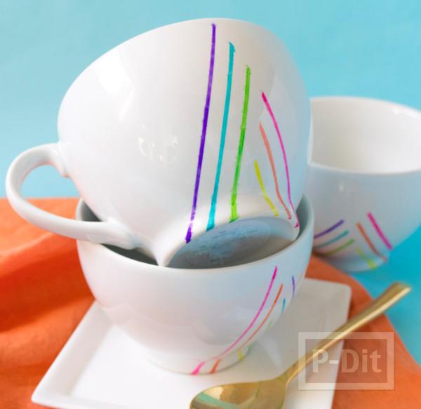 แก้วกาแฟ ตกแต่งลายเส้นสวย