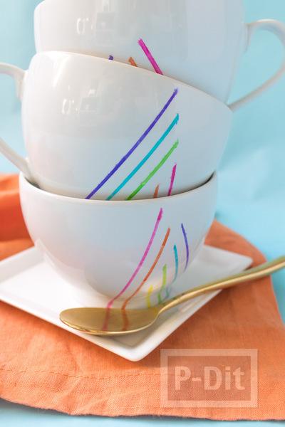 รูป 6 แก้วกาแฟ ตกแต่งลายเส้นสวย