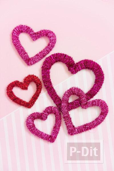 รูป 3 โบว์ประดับกล่องของขวัญ รูปหัวใจ ประดับพู่