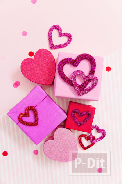 รูป 5 โบว์ประดับกล่องของขวัญ รูปหัวใจ ประดับพู่
