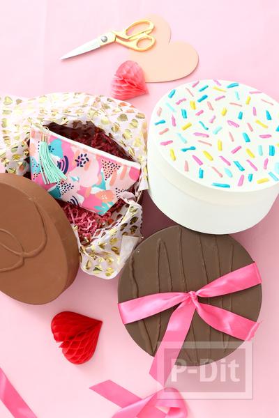 รูป 3 กล่องของขวัญ ตกแต่งเป็นช็อคโกแลต วันวาเลนไทน์