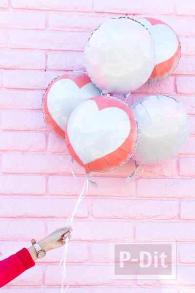 ลูกโป่งส่งรัก รูปหัวใจ พ่นสี