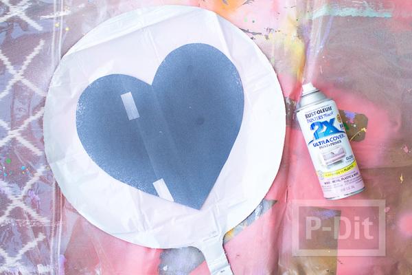 รูป 3 ลูกโป่งส่งรัก รูปหัวใจ พ่นสี