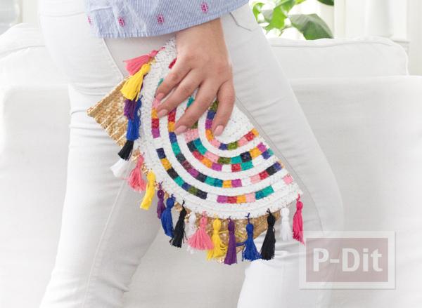 ตกแต่งกระเป๋าถือ ด้วยสีน้ำและพู่สีสดใส