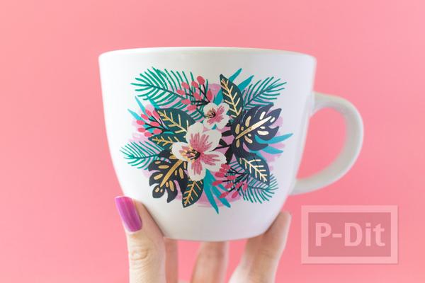 แก้วกาแฟ ตกแต่งลายสวยๆ จากกระดาษลอกลาย