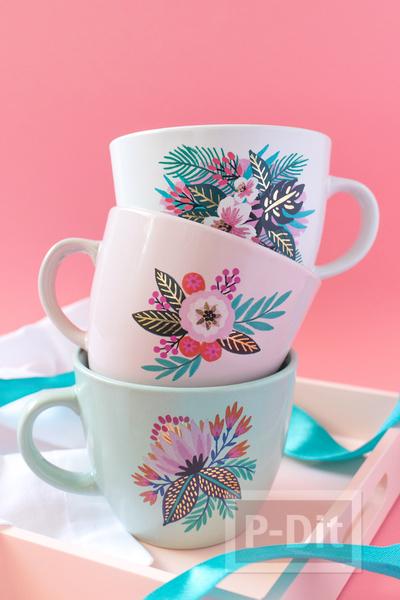 รูป 2 แก้วกาแฟ ตกแต่งลายสวยๆ จากกระดาษลอกลาย