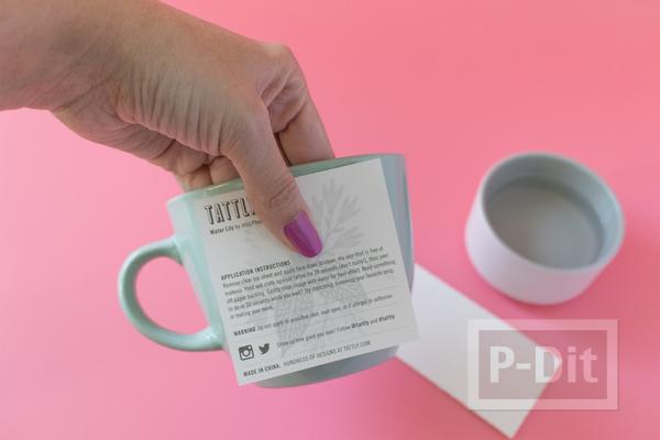 รูป 4 แก้วกาแฟ ตกแต่งลายสวยๆ จากกระดาษลอกลาย